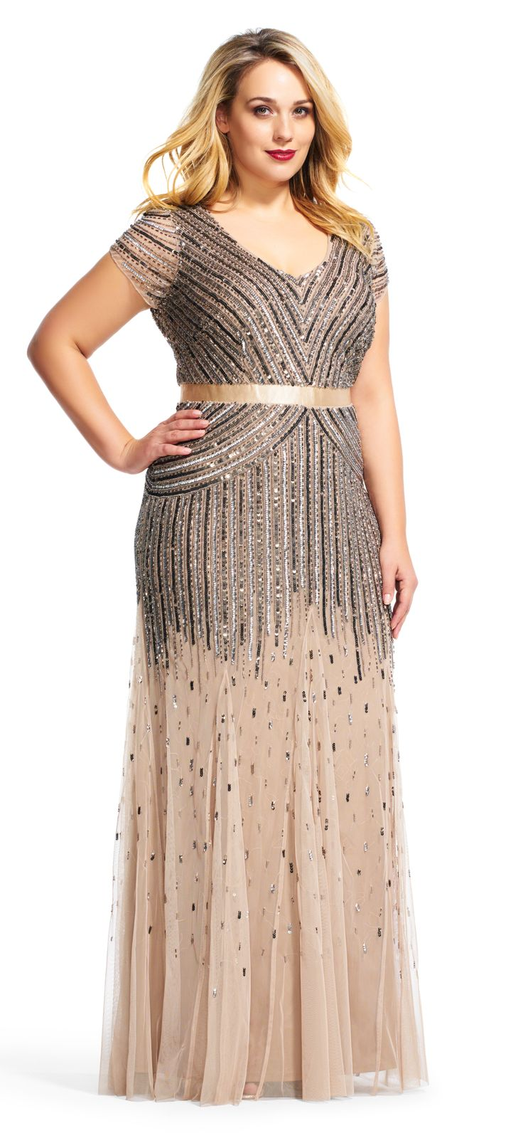 Plus Size Beaded V-Neck Gown | Plus Size Special Occasion Dress