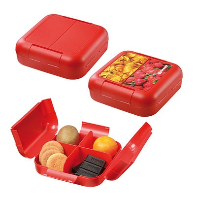 Boîte Alimentaire- Tarifs sur devis (contact@objetpubenligne.com) -  TO923641 160x160x50mm - 8,5g Colisage : 50 Made in Germany blanc, bleu, jaune, vert, rouge, blanc translucide, orange