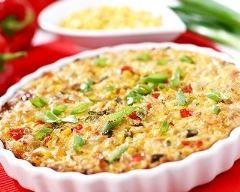 quiche sans pâte façon pizza aux tomates, jambon, lardons et chorizo