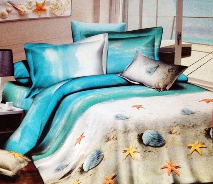 3D Beach ocean 100% cotton designer bedding comforter sets queen size bedspread duvet cover bed in a bag sheet quilt linen(China (Mainland))