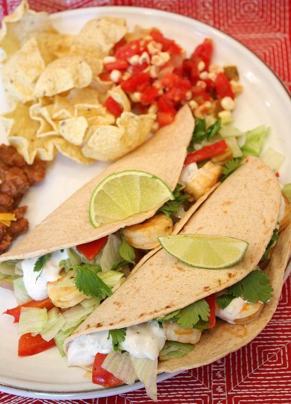 Shrimp Tacos with Chipotle Cream by recipegirl #Tacos #Shrimp