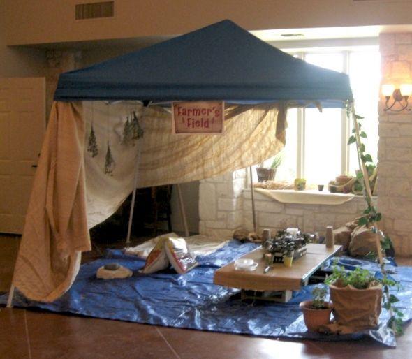 Vbs decor holy land adventure marketplace tents - Decorating a canopy tent ...