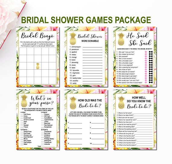 Tropical Bridal Shower Games Bundle Hawaiian Bridal Shower Games Set Aloha Bridal Shower Printable Bridal Shower Games Package Luau
