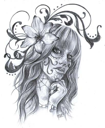 day of the dead pin up art sons and sugar girl wetcanvas tattoos pinterest rockabilly. Black Bedroom Furniture Sets. Home Design Ideas