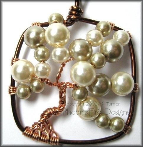 Bubble Tree 2 - Square Tree of Life Pendant in Brown and Copper Wire With Glass Pearl $45 -Phoenix Fire Designs cool use of pearls