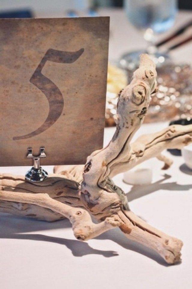 numéro de table-mariage thème plage en bois flotté
