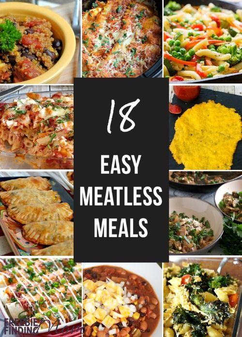 Whether you are in search of easy meatless meals because of dietary constraints or to save money, here are 18 easy meatless meals that will have you asking for seconds. You'll find delicious meatless slow cooker meals, one pot dishes, healthy recipes, and more including a Slow Cooker Veggie Lasagna Recipe, Sweet Potato Enchiladas, 15 Minute Mushroom Stroganoff, and Cauliflower Pizza just to name a few.