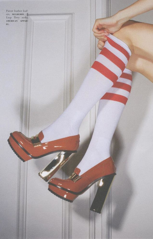 For the Love of Shoes by Man Repeller featured American Apparel socks.  #magazines