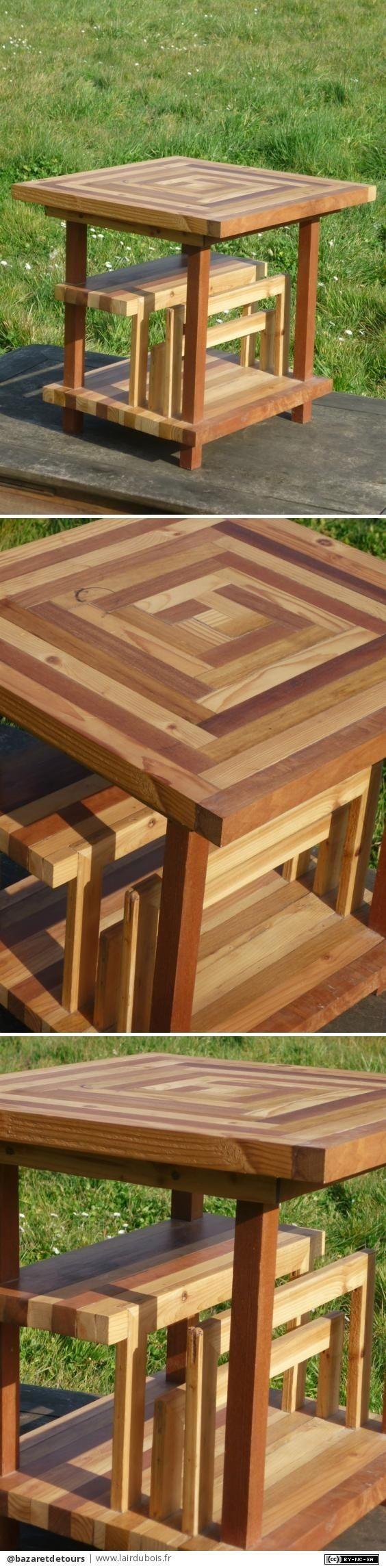 Tablentasso par bazaretdetours - Table réalisée il y a quelques années Insertion de cadres de récup pour pouvoir y glisser de grands livres