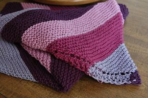 Garter diagonal stripe knit blanket - free pattern