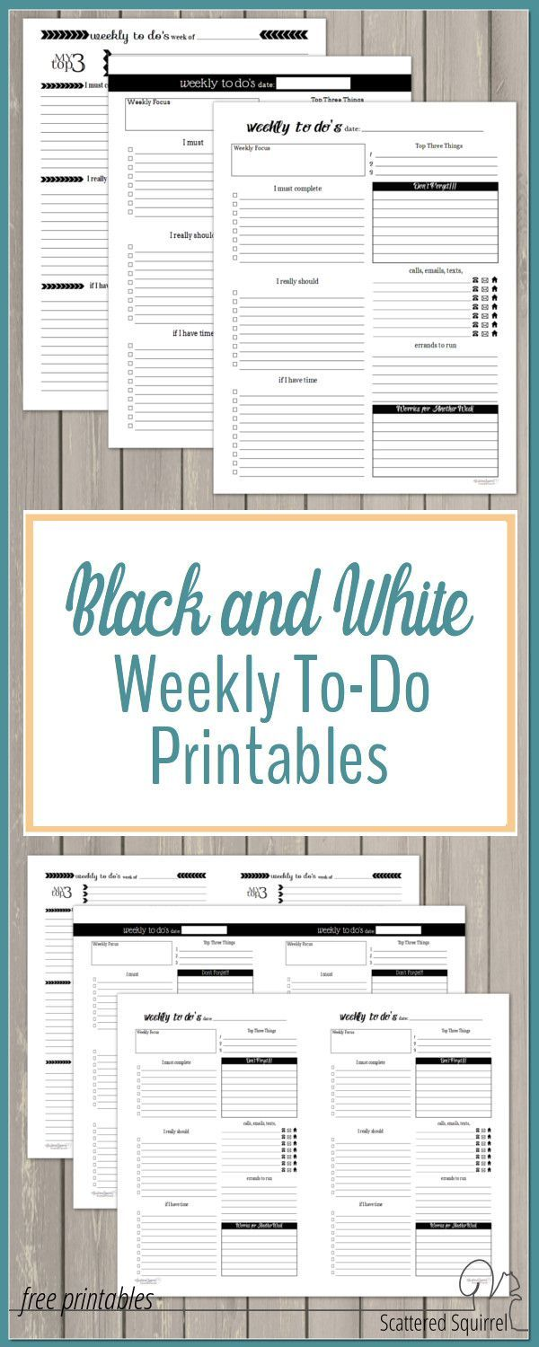 Black and white weekly to-do printables are great for keeping track of what you need to do each week. These free planner printables make a great companion to a weekly or daily planner.