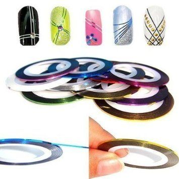 Nail Art Striping Tape Line Decoration pack of 10 rolls from Easy-go: Amazon.co.uk: Beauty - WOW, looks tricky to me but I can't wait to have a go. Not sure what you do with it properly but I can only try and for 58p its not gonna break the bank - I'll let you know x x x
