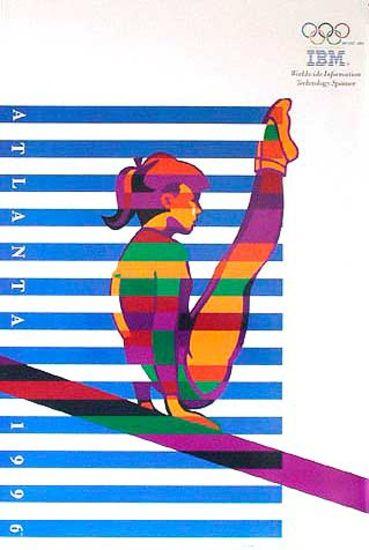 DP Vintage Posters - Original Vintage 1996 Atlanta Olympics Poster IBM Gymnast