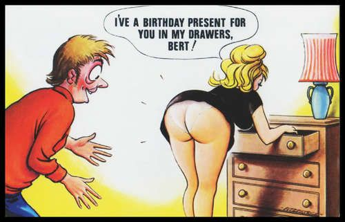 Early 1960 Signed Bamforth comic Risqué Postcard birthday gift Nylon drawers