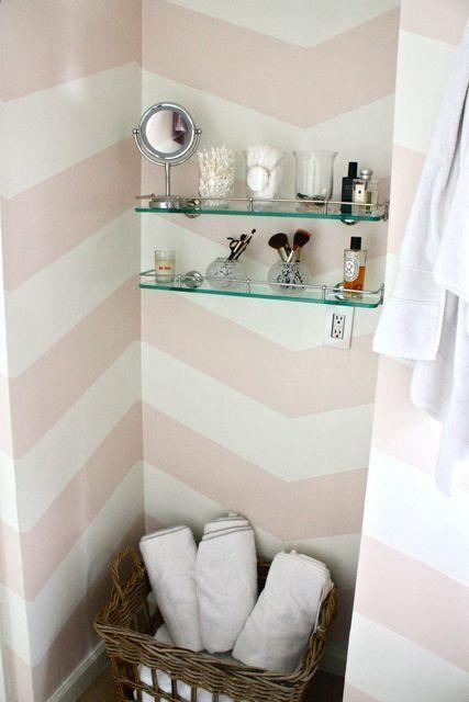 Zoe Feldman Design: Adorable white & pink bathroom design with white & pink painted chevron stripes, ...