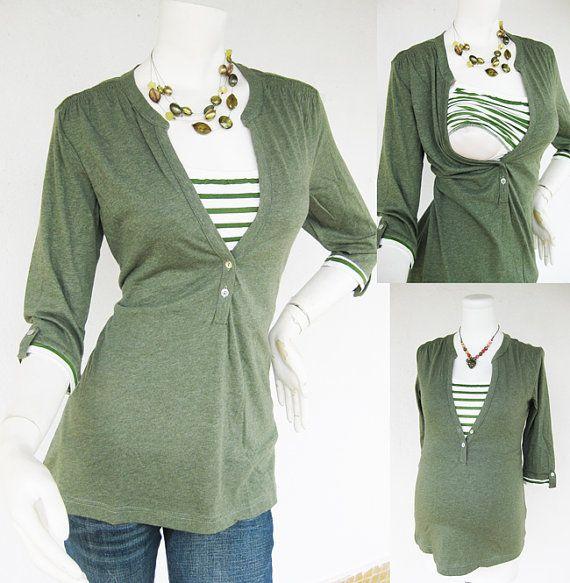 MACY Maternity Clothing/ Nursing Top Breastfeeding Shirt/ Nursing Clothes NEW Original Design GREEN Shirt Pregnancy Clothes