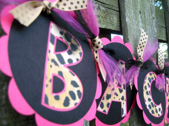 Bachelorette Banner  Leopard and Hot Pink by ElegantEvee on Etsy, $25.00