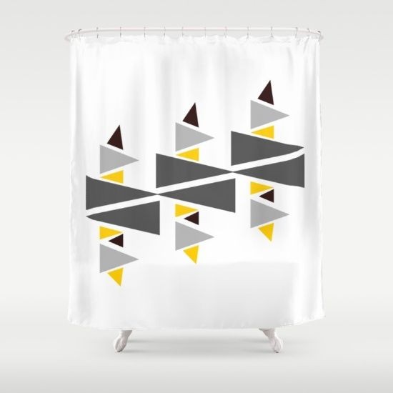 Buy Shower Curtains featuring Triangle-d by Mindssgreen. Made from 100% easy care polyester our designer shower curtains are printed in the USA and feature a 12 button-hole top for simple hanging.