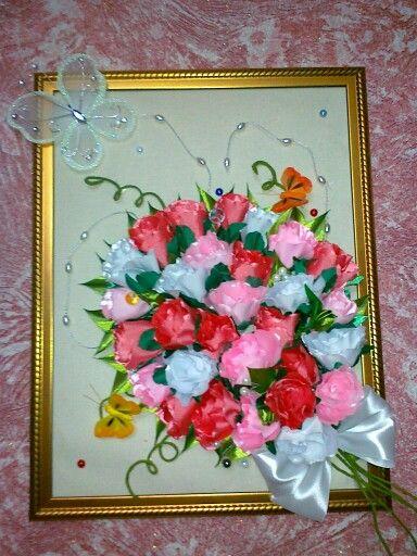 Картины с цветами канзаши