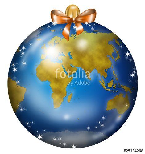 Pallina di natale con mappamondo Europa-Africa-Asia