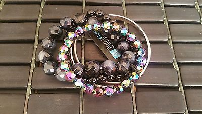 Women Fashion Black Multi Layer Beaded Bangle Bracelet Accessories Jewelry