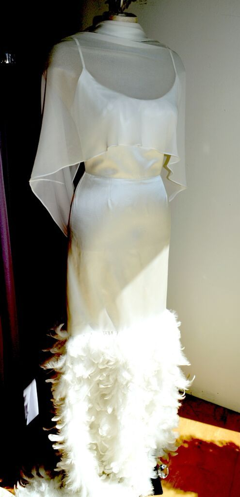 Mavis Gown, straight cut duchess satin with feather detail..............  LOWON POPE – 117 JEFFERSON AVE, TORONTO, ON – 416-504-8150 – lowonpope@gmail.com