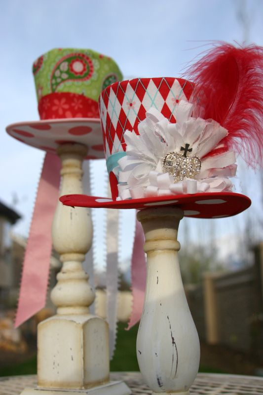 We're All Mad Here                                                      hats on candlesticks