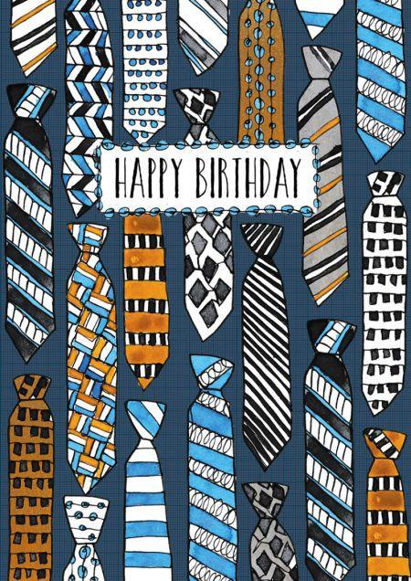 Rebecca Prinn - RP Male Icons Ties Birthday Greeting Card