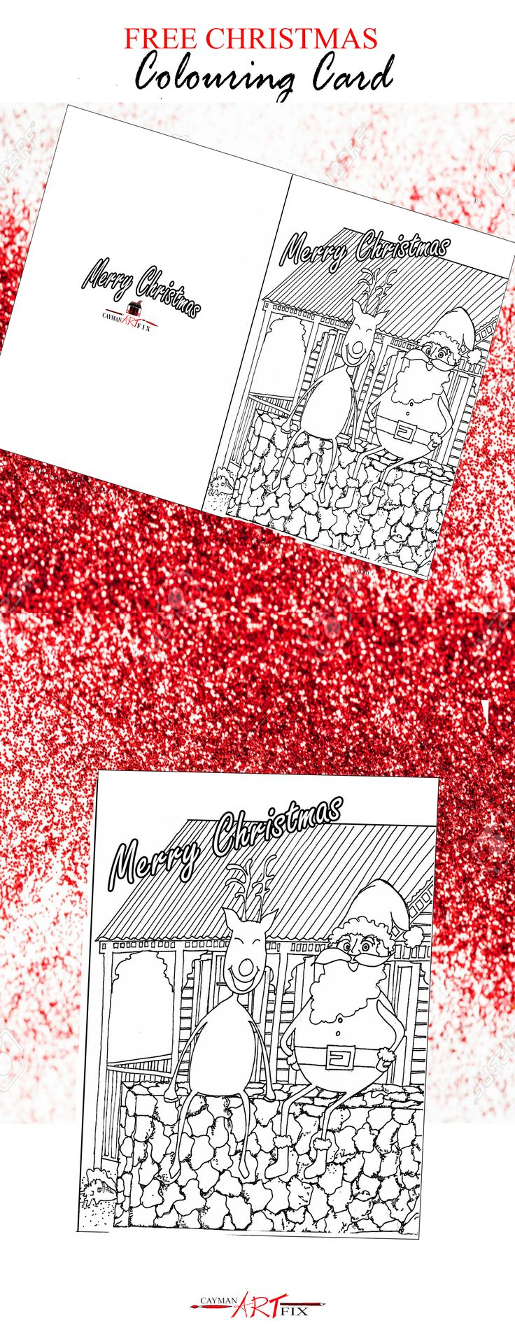 A DIY Christmas Card just for you! Print it off and Colour or just Print and Share! #DIY #ChristmasCard #islandart #getyours #printables #color #CaymanIslands #Christmas #Caymanartfix