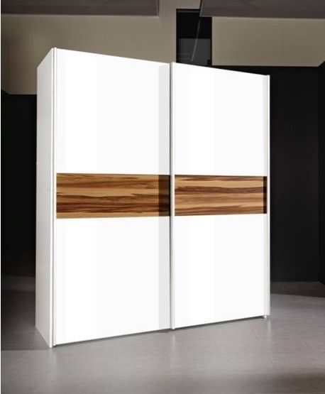 Tvilum move modern white and walnut 2 door sliding double for Nice sliding glass doors