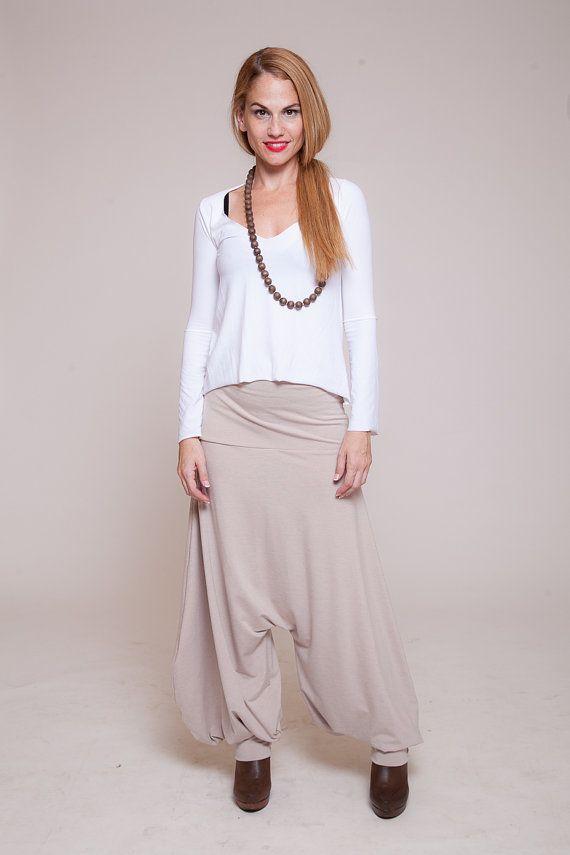 beige women Harem Pants - Aladdin afgani pants, Drop-Crotch pants, women trousers,nude pants  sizes : XS / S / M / L / XL