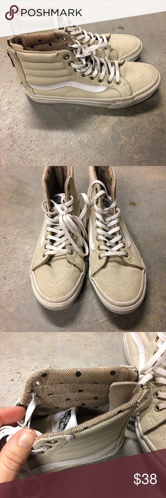 I just added this listing on Poshmark: Khaki vans high tops with zippers and polka dots. #shopmycloset #poshmark #fashion #shopping #style #forsale #Vans #Shoes