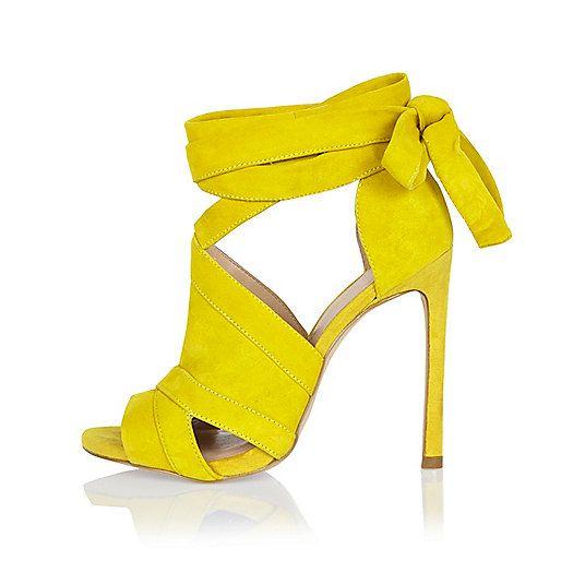 Suede Open peep toe Tie up Strappy shoe boots Slim stiletto heels Heel height 11.5cm