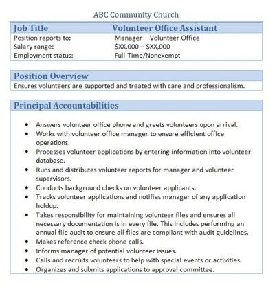45 free downloadable sample church job descriptions office assistantjob descriptionvolunteers - Office Assistant Job Description