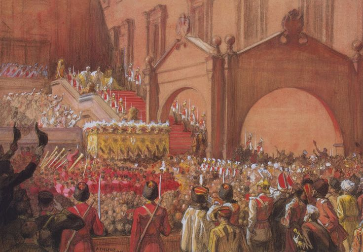 History painting by Albert Edelfelt - Emperor Nicholas II on the Red Porch after his Coronation, 1896