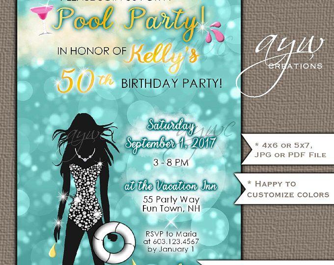 Mermaid Party Invitations personnalisé invite anniversaire Enveloppes piscine Swim
