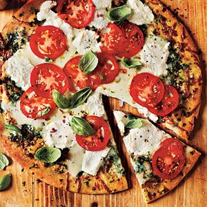 White Pizza with Tomato and Basil | MyRecipes.com: Pizza Recipe, Food, Basil Recipes, Italian Recipe, 20 Minute, White Pizza, Cooking Light, Tomatoes
