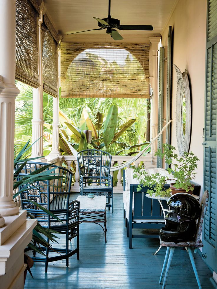 A shady back porch — ina storied pinkhousein the Garden District of New Orleans — is the perfect place for a nap.Sara Ruffin Costello, a writer and the former creative director of Domino magazine, painted the shades and furniture the same color. Read more:For the Costellos, a Gentle Chaos
