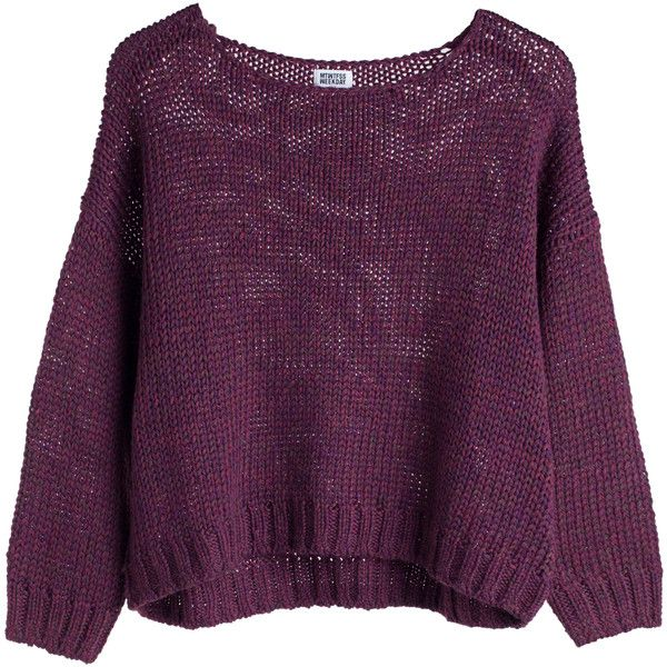 Oxy knit sweater Purple Reddish Dark ❤ liked on Polyvore featuring tops, sweaters, shirts, jumpers, shirt sweater, purple sweater, knit shirt, knit tops and purple knit sweater