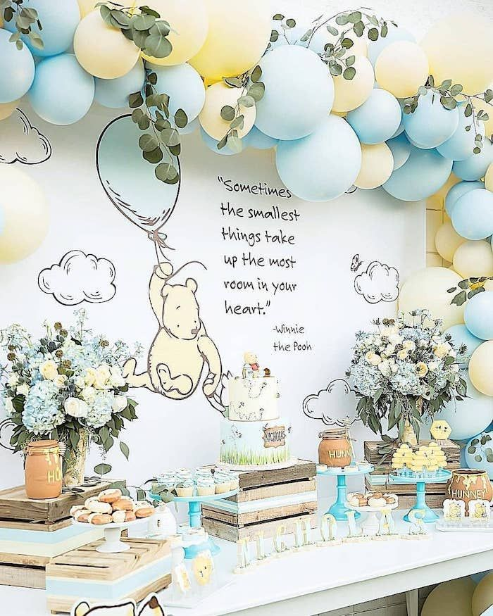 Winnie The Pooh Baby Shower Themes Cake Honey Pots Cupcakes Donuts