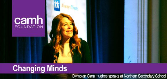 Olympian Clara Hughes speaks to kids at Northern Secondary School during Bell Let's Talk Day, on the cover of our February 2014 edition of Changing Minds eNewsletter