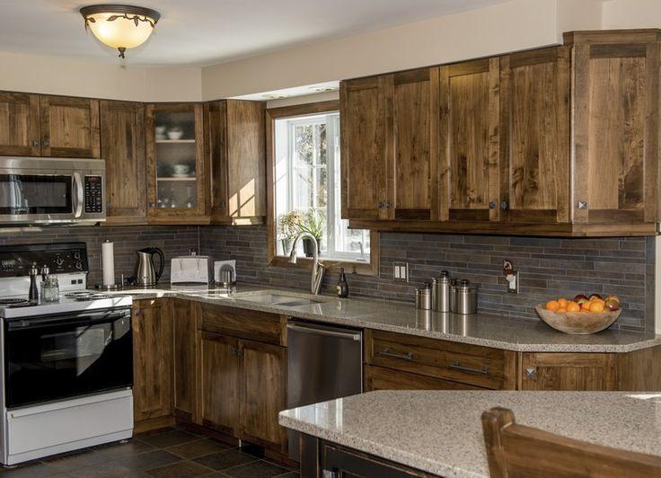 Wormy Maple Kitchen Quartz Counter Top | Maple kitchen ... on Maple Kitchen Cabinets With Quartz Countertops  id=46725