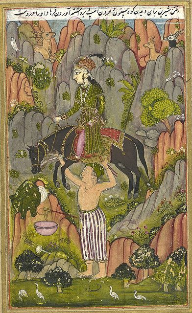 An abridged version of Khusrau u Shirin by Nizami. Sixty-three miniatures. - caption: 'Farhad carrying Shirin and her horse.' | by The British Library