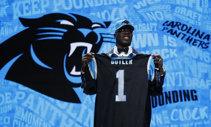 Apr 28, 2016; Chicago, IL, USA; Vernon Butler (Louisiana Tech) after being selected by the Carolina Panthers as the number thirty overall pick in the first round of the 2016 NFL Draft at Auditorium Theatre. Mandatory Credit: Kamil Krzaczynski-USA TODAY Sports