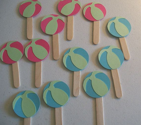 Beach Ball Cupcake toppers  Beach and Pool Party by KatlinLee123,