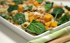 This chicken and pumpkin pasta bake has a delicious cheese sauce and wilted baby spinach all through it. It is perfect for feeding a hungry crowd.