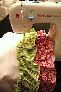 ruffle tutorial...no big stitches or threads to pull, you gather as you go.