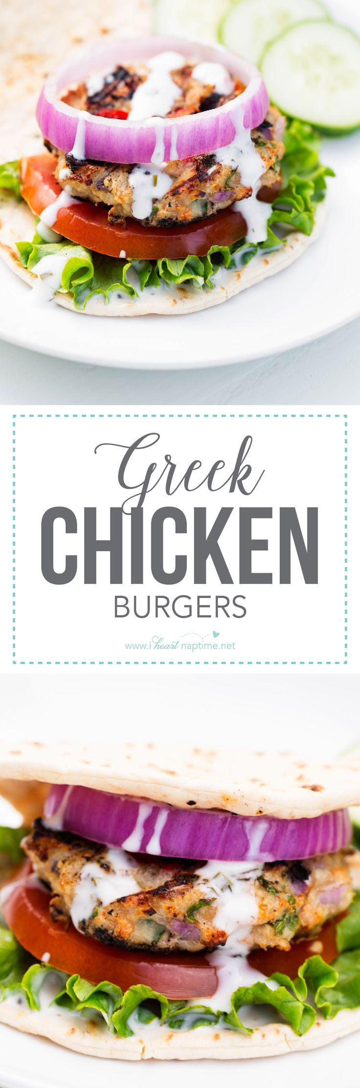 Grilled Greek Chicken Burgers... done in 20 minutes and a new family favorite recipe!