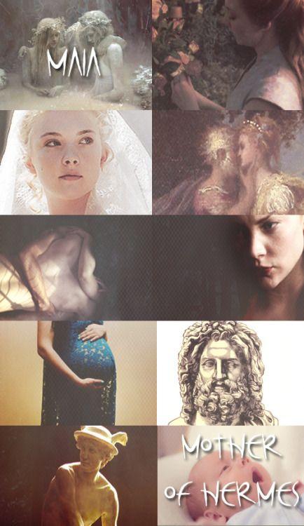 GREEK MYTHOLOGY MEME ® LOVERS OF ZEUS 6/9 ∟Natalie Dormer as M A I A  Maia é a filha de Atlas e Pleione a Oceânide, e é a mais velha das sete Plêiades. De acordo com o Hino Homérico a Hermes, Zeus, na calada da noite secretamente gerou Hermes sobre Maia, que evitou a companhia dos deuses, em uma caverna de Cilene. Depois de dar à luz ao bebê, Maia envolveu-o em cobertores e foi dormir. O rápido amadurecimento infantil de Hermes levou-o ao longe de Tessália, onde ao anoitecer de seus abetos…