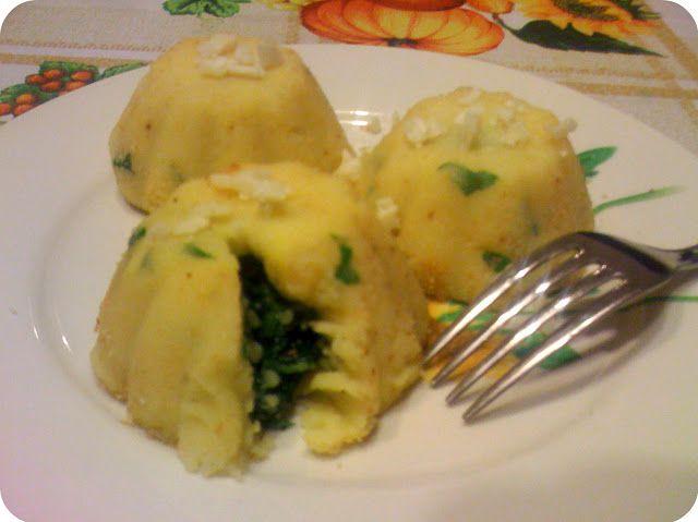 Tortini di patate con cuore di spinaci e pancetta